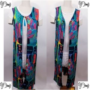 Duster Vest Plus Size 14 Turquoise Abstract Print